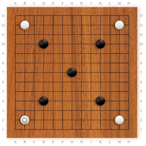 Symmetry ของกระดานหมากล้อม ไม่ว่าจะหมุนด้านไหนขึ้นก็เหมือนกัน (ในความเป็นจริงคงไม่มีใครเล่นแบบนี้)